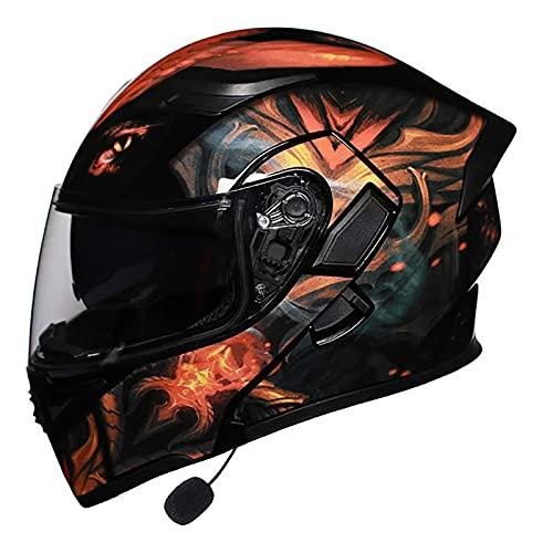 XKUN Cascos Bluetooth Motocicleta para Hombres, Flip Up Dual Visor Casco Cara Completo, Casco Moto Hombres Y Mujeres, MicróFono Auriculares Altavoz Incorporado Respuestas AutomáTicas-A,M