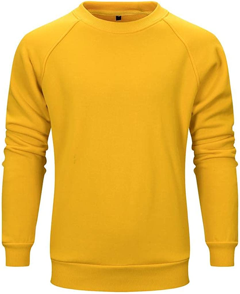 Qsctys Men's Sweatshirts Crewneck Casual Lightweight - Loose Fashion Solid Color Long Sleeve Pullover Sports & Fitness