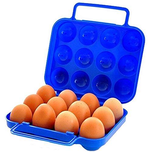 Wonque Eggs - Contenitore per Uova in plastica, 12 Scomparti, Portatile, 1 Pezzo, plastica, Blue, 21 * 20.5 * 7 CM