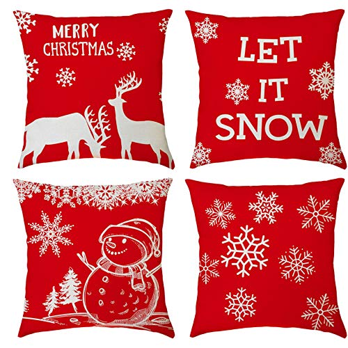 kangma 4 Pack Christmas Throw Pillow Covers Merry Christmas Decorative Couch Pillow Cases Cotton Linen