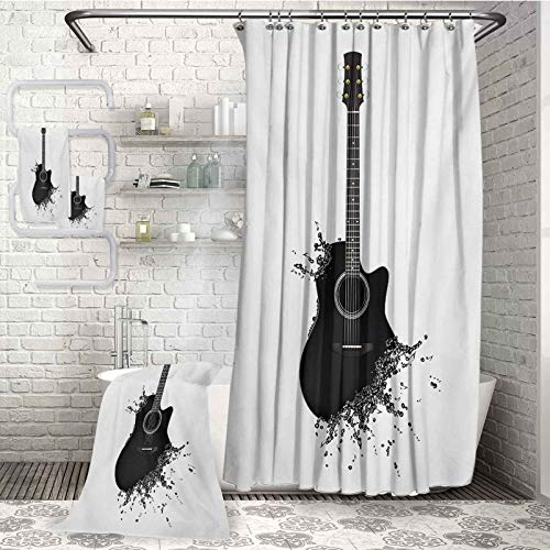 Guitar soft and comfortable Microfiber bath towel 4-piece bathroom set Monochrome Musical Instrument with Strings Acoustic Color Splashes Creative Outlet Highly Absorbent Light Weight For parties and