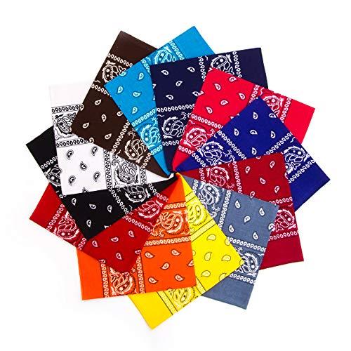 Simes Bandanas 12 Pack, Headbands For Women, Bandanas For Men, Bandanas For Dogs, Organic 100% Cotton Novelty Cowboy Bandana