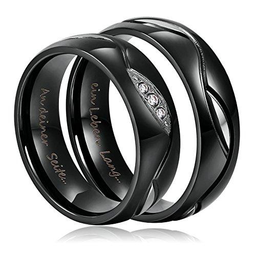 2 Stück Edelstahl Schwarz Eheringe Trauringe Paarringe 6mm für Sie und Ihn Ring Damen Gr.52(16.6) & Herren 52(16.6)