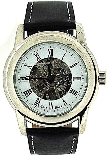 BOXX Herren Armbanduhr mit römischen Ziffern, Aufziehmechanismus und Skeleton Ziffernblatt sowie schwarzem Lederarmband Boxx85