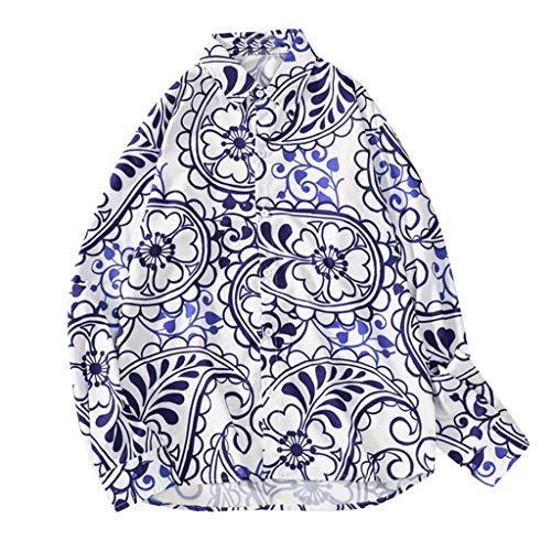 Setsail Herren Herbstmode Shirts Freizeithemd Printing Beach Shirts Langarm-Top Bequemes Shirt