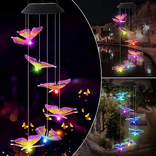 Benooa Solar Windspiele Kristallkugel Bunte Windspiele Mobile Solarleuchten Tragbare wasserdichte Outdoor-dekorative hängende LED-Leuchte für zu Hause,Terrasse,Garten (Butterfly)