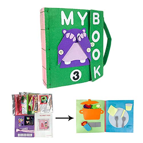 lossomly Libro De Bricolaje para Bebé, Montessori Libro De Tela para La Primera Infancia Mi Libro Kit De Hardware Hecho A Mano No...