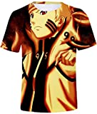 PANOZON Camisetas de Naruto Hombre T-Shirts Manga Corta 3D Anime Japónes Personajes de Sasuke Kakash (M, Párpado 0459-1)