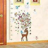 Schöne Sika Hirsch Blume Und Vogel Höhe Kind Wachstum Messung Wandaufkleber Kinderzimmer Veranda Kleiderschrank Dekoration Diy Aufkleber