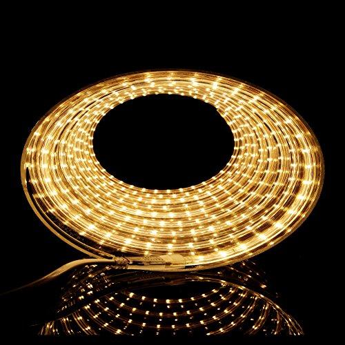 LED Streifen Warmweiß   LED Dimmbar   LED Band 230V   LED Lichtband außen   Wasserdicht nach IP68   Energiesparend  LED Strip 15m