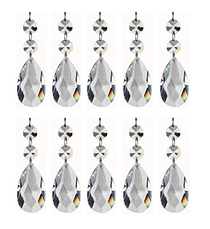 AKOAK 50mm Clear Teardrop Chandelier Crystal Pendants Glass Pendants Beads with 2 Pcs Top Octagon Piece,Pack of 12