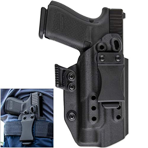 Skydas Gear JEDBURGH Kydex TLR-1 Holster Compatible with Glock only - OWB or IWB (Black, IWB Concealment)
