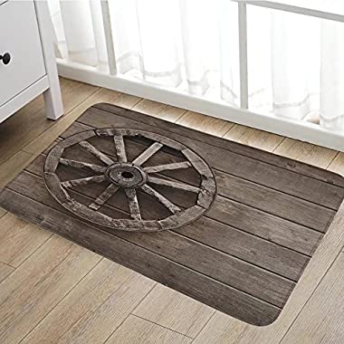 Barn Wood Wagon Wheel door mats for home Antique Aged Carriage Vehicle Wheel on the Wall of Barn Grunge Western Bath Mat Bathroom Mat with Non Slip16 x24  Umber