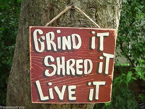 unknow Wandtafel mit Grind it Shred it Live it – Landhausstil, handgefertigt, rustikal, Primitive Shabby Chic, Skate Board Schild, Holzschild, personalisiertes Geschenk