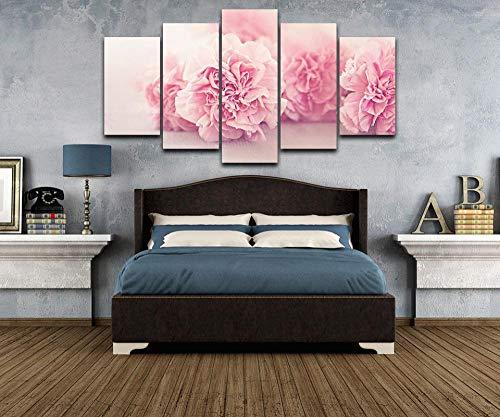 rkmaster-modulaire afbeelding Hd print canvas op olieverfschilderijlijst voor woonkamer muurkunst 5 panelen roze snoepjes bloem poster