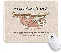 ECOMAOMI 可愛いマウスパッド ナマケモノの漫画のデザインは、軽薄な「I Love You、Mom」のカラー画像でナマケモノを印刷します 滑り止めゴムバッキングマウスパッドノートブックコンピュータマウスマット