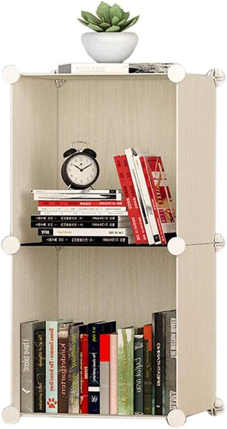 JCAFA Shelves Bookshelf Storage Rack Cube Storage Box Plaid Cabinet Bookcase Strong Load Bearing, Easy to Disassemble (color   Light Yellow, Size   14.56  14.56  29.92in)