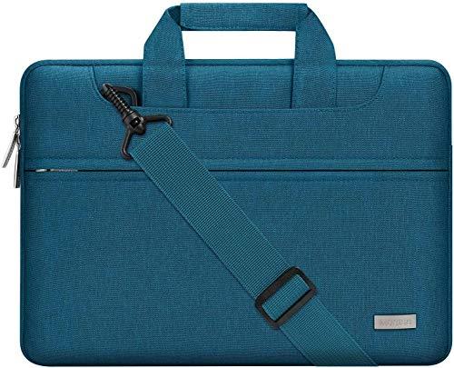 MOSISO Laptop Umhängetasche Kompatibel mit 13-13,3 Zoll MacBook Pro, MacBook Air, Notebook Computer, Polyester Aktentasche Messenger Schultertasche mit Zurück Wagen Gürtel, Deep Teal