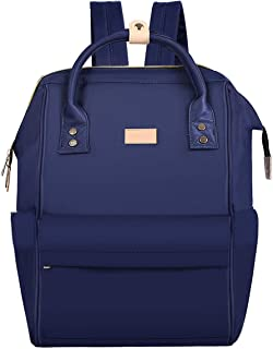 MOSISO Laptop Backpack Water Repellent Polyester Business Travel College School Bookbag Daypack for Women Men Boy Girl Blue Navy Blue