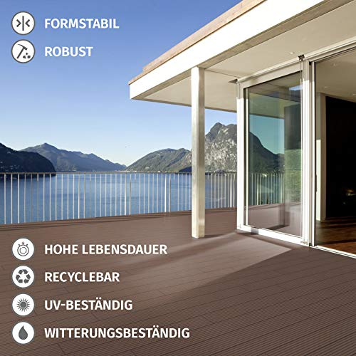 HORI® WPC-Terrassendielen Malta anthrazit I Komplett-Set inkl. 28x50 mm Unterkonstruktion & Clips I Dielenlänge 3,20 m I Fläche 7 m² - 6