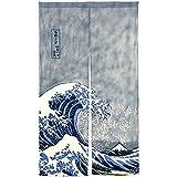 NeoConcept Japanese Noren Ukiyoe The Great Wave off Kanagawa Door Way Curtain 59'x33.45'