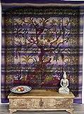 GURU SHOP Boho-Style Wandbehang, Indische Tagesdecke Lebensbaum/Tree of Life - Violett, Baumwolle, 250x210 cm, Bettüberwurf, Sofa Überwurf