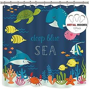 Riyidecor Cartoon Underwater Sea Animal Shower Curtain Fish Metal Hooks 12 Pack Deep Ocean Starfish Sea Turtle Blue Kids Decor Fabric Panel Set 72x72 Inch Bathroom