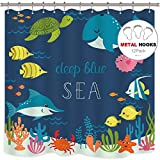 Riyidecor Cartoon Underwater Sea Animal Shower Curtain Fish Metal Hooks 12 Pack Deep Ocean Starfish Sea Turtle Blue Kids Decor Fabric Panel Set 72x72 Inch Bathroom