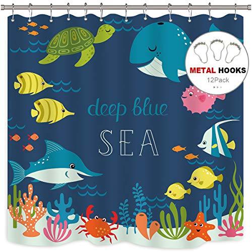 Riyidecor Ocean Fish Shower Curtain Kids Cartoon Underwater Sea Animal Boys Girls Starfish Sea Turtle Decor 12 Pack Metal Hooks Fabric 72x72 Inch Bathroom