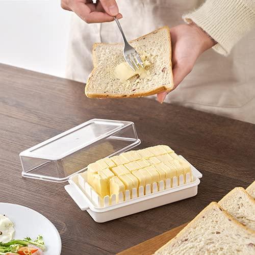 TOFBS Smörmaträtt, smörfat smörbehållare med förseglat lock för enkel skärning och förvaring, smörlåda ostbehållare för kylskåp, 2 i 1 klar smörbehållare