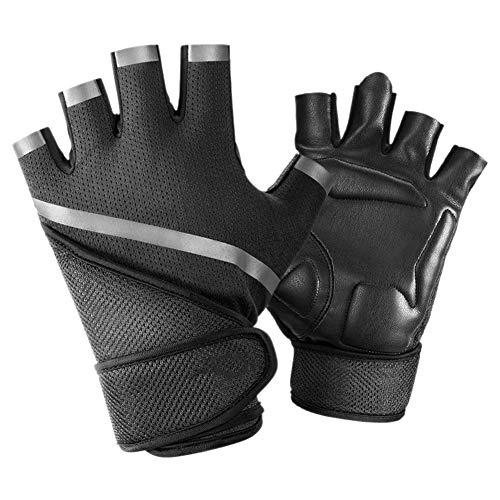 YONDLEE Fitness Handschoenen, Half Finger Unisex Fitness Dumbbell Apparatuur Roterend Fiets Training Handschoenen Polsband, Zwart, L