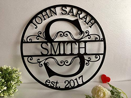 Personalized Family Last Name Sign Initial Split Letter Wreath Wedding Gift Custom First Names Est...