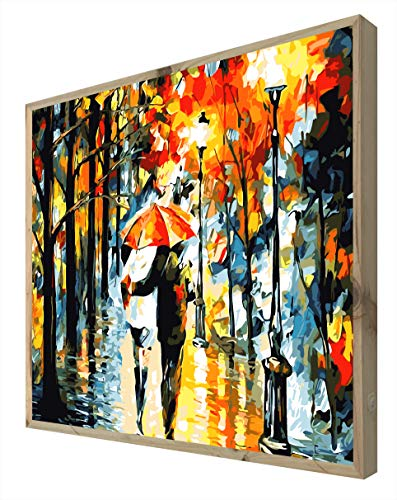 Ccretro-Lit Rood Paraplu Frame met Backlit Houten Frame, Methacrylaat, Multi-Colour, 80 x 60