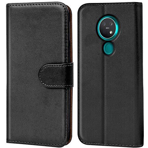 Verco Nokia 7.2 Hülle, Handyhülle für Nokia 7.2 Tasche PU Leder Flip Hülle Schutzhülle Brieftasche - Schwarz