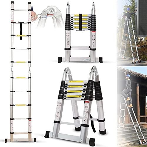 XnalLKJ Escalera De Extensión Telescópica Aluminio Portátil Plegable Multiusos A-Marco con Barra De Soporte, Escalera Plegable con Capacidad De Carga De 330lb para Trabajos Al Aire Libre Interior