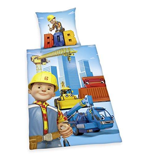 Herding BOB DER BAUMEISTER Bettwäsche-Set, Kopfkissenbezug 80x80cm, Bettbezug 135x200cm, 100% Baumwolle, Renforcé, mit leichtläufigem Reißverschluss