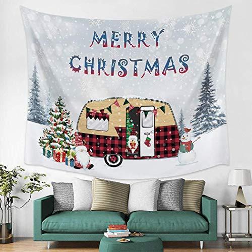 Feliz Navidad Tapiz Tapices para colgar en la pared Arte Tratamientos para ventanas Tapices para pared Sala de estar Dormitorio Decoración para el hogar Camper feliz Perro encantador Copo de nieve Tab