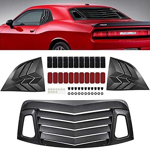 REAR & SIDE WINDOW LOUVERS FOR DODGE CHALLENGER 2008 2009 2010 2011 2012 2013 2014 2015 2016 2017 2018 2019 2020 2021 ABS WINDSHIELD SUN SHADE COVER MATTE BLACK