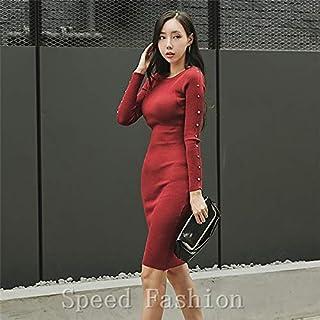 (Speed Fashion)魅力なビジュー付けのニットワンピース