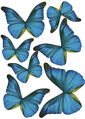 Plage Charming Butterfly Stickers 3D Decoration-Blue TRANSPARENT [7 Butterflies Between 8 x 6,5 cm and 14 x 11 cm], Plastik, 14 x 0.1 x 11 cm, 7-Einheiten