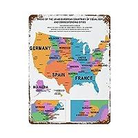 GDPに対応する都市のヨーロッパ諸国としての米国の地域鮮やかな地図さびた錫のサインヴィンテージアルミニウムプラークアートポスター装飾面白い鉄の絵の個性安全標識警告アニメゲームフィルムバースクールカフェ40cm*30