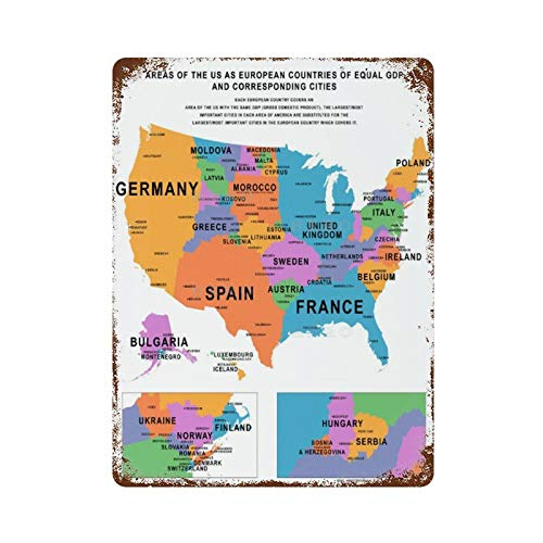 Huzkc Areas of The U.S. As European Countries of Equal GDP Corresponding Cities Vivid Maps Vintage Tin Sign Art Iron Painting Rusty Poster Decoration Alumin.