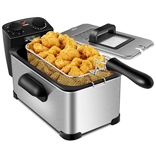 COSYWAY Deep Fryer, 1700W Electric Stainless Steel Deep Fryer -3.2qt Oil Container & Lid w/View Window, 12 Cups Frying Basket w/Hook, Adjustable Temperature and Timer, Professional Grade