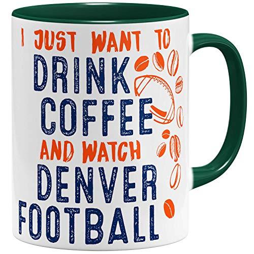 OM3® - Denver-Coffee - Tasse | Keramik Becher | American Football Mug | 11oz 325ml | Beidseitig Bedruckt | Grün
