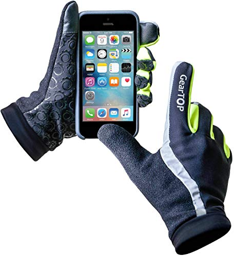 GearTOP Reflective Riding Gloves for Men and Women, Unisex Touchscreen Gloves for Cold Weather, Cycling, Driving & More, Multi-Purpose Night Running Gloves for All Weather Condition - Large
