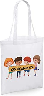 bubbleshirt Shopping Bag in Cotone Maestra 100/% Super Maestra Idea Regalo fine Anno scolatisco