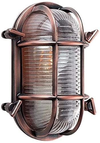Lámpara de pared de estilo moderno, diseño náutico, color bronce ovalado, efecto antiguo, lente mate y carcasa de aluminio pulido, para exteriores (sin bombilla), color latón