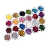 Ardisle - Lot de 24 pots de paillettes colorées Pour manucure Brillantes Pigment pour cheveux Décoration Couleurs arc en ciel Lot pour nail art