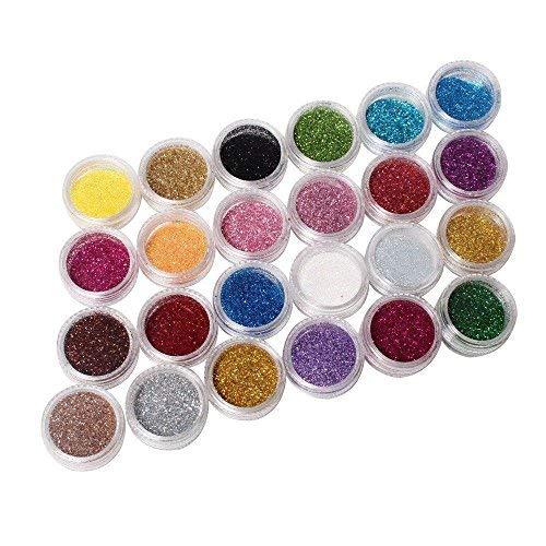 Ardisle 24 Töpfe farbiger Glitzer, Pailletten-Pigment für Maniküre, Nagelkunst,