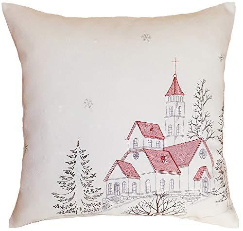 matches21 - Federa per cuscino in tessuto per la casa, Natale, chiesa in inverno, in poliestere, 40 x 40 cm, colore: Beige/Rosso